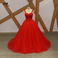 Amazing Red Puffy Tulle Quinceanera Dresses 2017 Chic Sweetheart Lace Up Back Custom Made Ball Gown