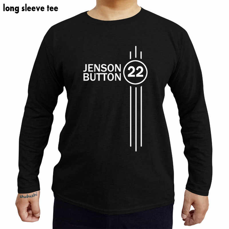 Jenson 버튼 번호 22 hoodie formula 1 드라이버 shubuzhi t 셔츠 남성면 tshirts 긴 소매 티셔츠