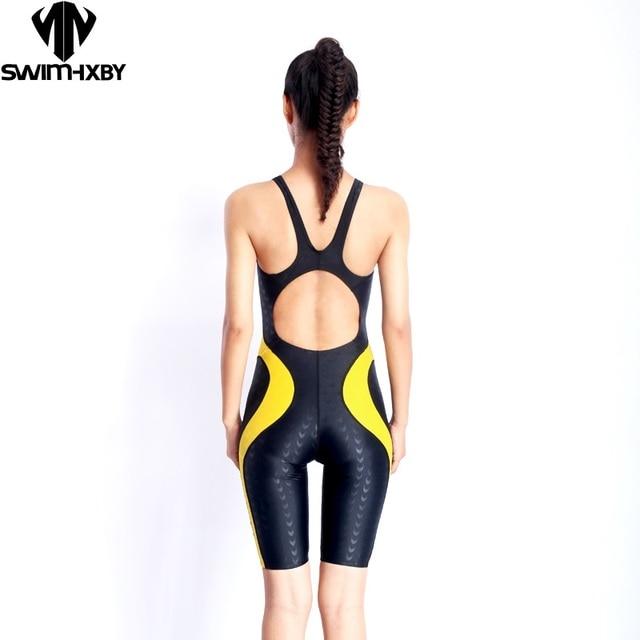 94aa34ec5af7b HXBY Knee One Piece Swimsuit Professional Sports Women Swimwear Sharkskin  Competition Backless Full Brief Bodysuit Size XXS-5XL