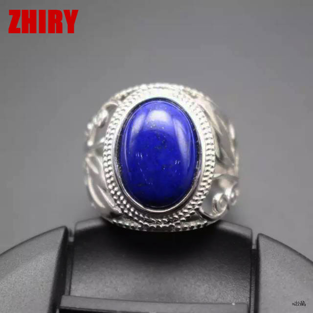 Man Natural blue Lapis Lazuli ring genuine gemstone rings real solid 925 sterling silver men Jewelry