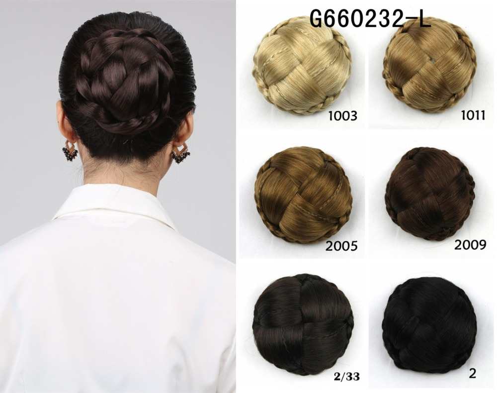 1pcs bride hair bun elastic drawstring chignon braided bun