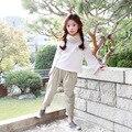 2017 новые шаровары дети девушки длинные брюки зеленый бежевый эластичный пояс карманы хлопок брюки для девочек школа детская одежда