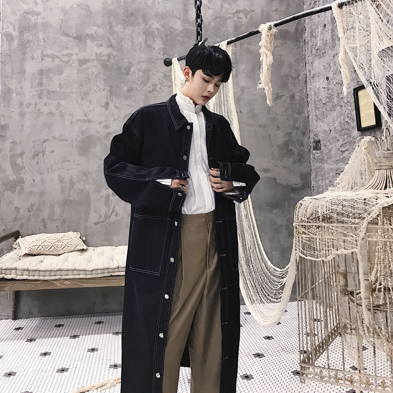 MIXCUBIC 2018 Autumn Korean style Retro lazy jackets trench for men Long section