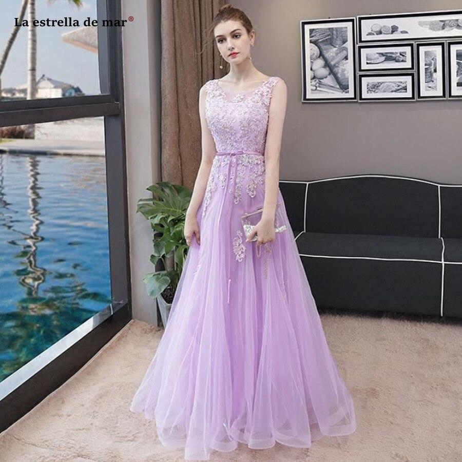La estrella de mar robe de demoiselle d'honneur pour mariage new lace beaded back a line light purple   bridesmaid     dress   long