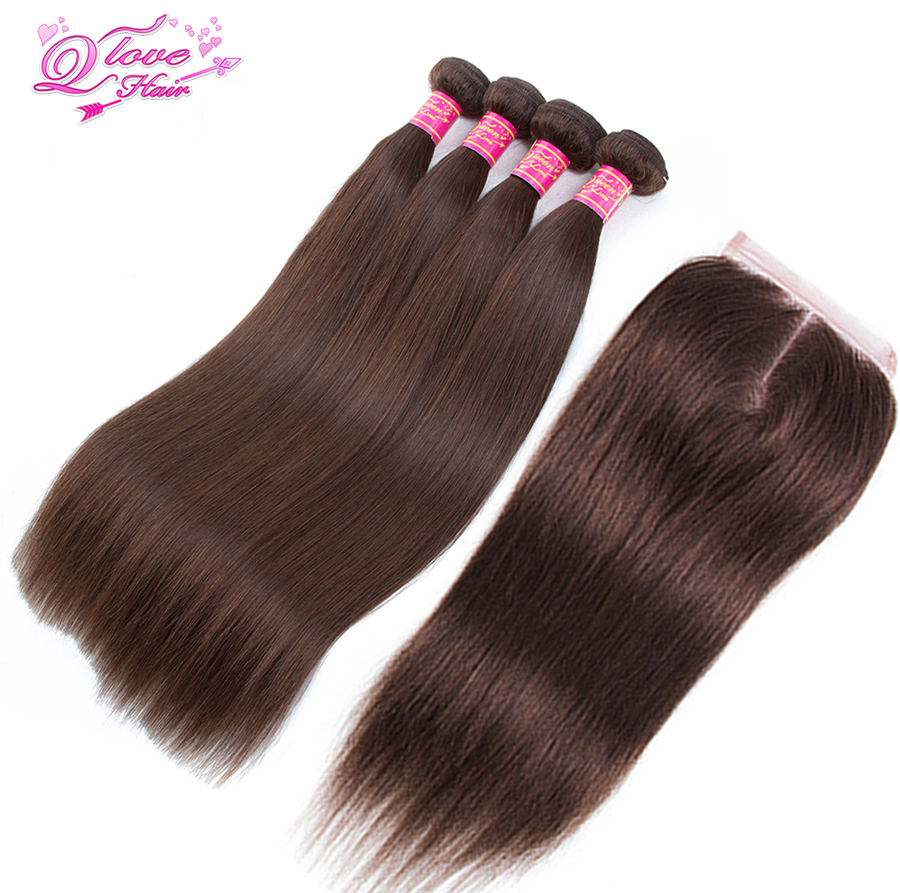 Queen Love Hair Pre-Colored Indian Straight #4 Color Hair Non Remy 4 Bundles With Lace Closure 100% Human Hair 5 Pcs/lot ...