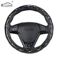 Upscale Crystal Crown Coverd Women Car Steering Wheel Braid Luxurious Diamond PU Leather Steering Wheel Cover