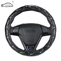 Upscale Crystal Crown Coverd Women Car Steering Wheel Braid Luxurious Diamond PU Leather Steering Wheel Cover