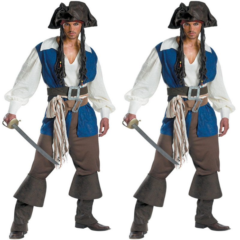 Takerlama 2017 Halloween Men Caribbean Pirates Costume Movie Captain Jack Cosplay Adult Costumes Full Set