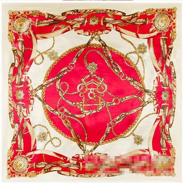 Flash sale 90*90cm Square silk   scarf   women big size belt chain High Quality Brand Shawl hijab ladies   scarves     wraps