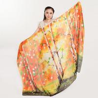 Wholesale 190 140cm 2015 New Print Fashion Silk Orange Tree Pattern Summer Super Silk Scarf Scarves