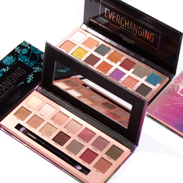 FOCALLURE 14 colores paleta de sombra de ojos brillo maquillaje de ojos verano brillo mate sombra de ojos cosméticos