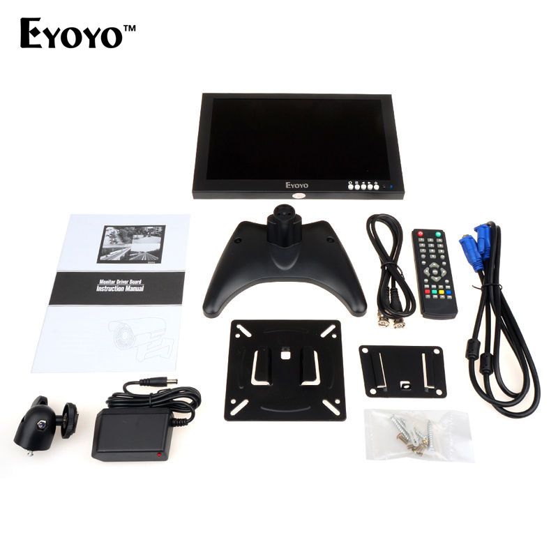 Eyoyo EM10C 10 quot IPS 1920 1200 HD LCD TV Display CCTV Security Surveillance Screen hdmi monitors with HDMI VGA Video Audio in LCD Monitors from Computer amp Office