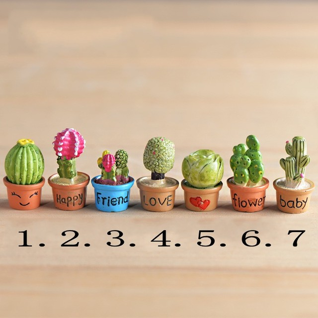 50 unids simulaci n cactus en maceta plantas figuras for Macetas miniatura