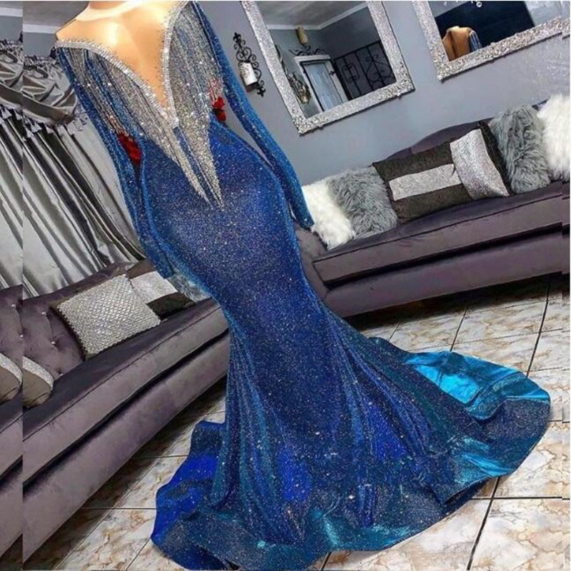 Sparkly Blue Sequins Beading Tassel Long Evening Party Dresses Elegant Long Sleeve Mermaid Arabic Prom Gown 2019 Robe De Soiree