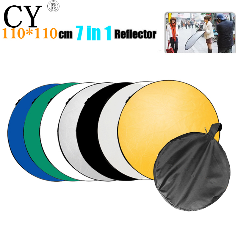 Lightupfoto 110cm/43 handheld collapsible 7 in 1 photograph studio light reflector Disc Round Disk PSCR13-110