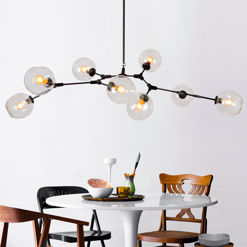 Gold/black Magic Bean Led Pendant Lights For Dinning Vintage Loft Industrial Glass Ball Hanging Light Retro Glass Pendant Lamp Ceiling Lights & Fans