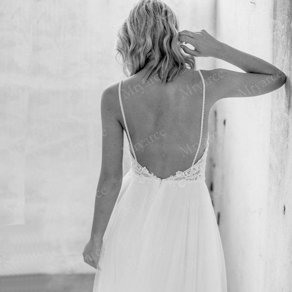 Mryarce Exclusive lace Beading Flowing Tulle A Line  Wedding Dress Open Back Summer Beach Elegant Bridal Gowns  (3)