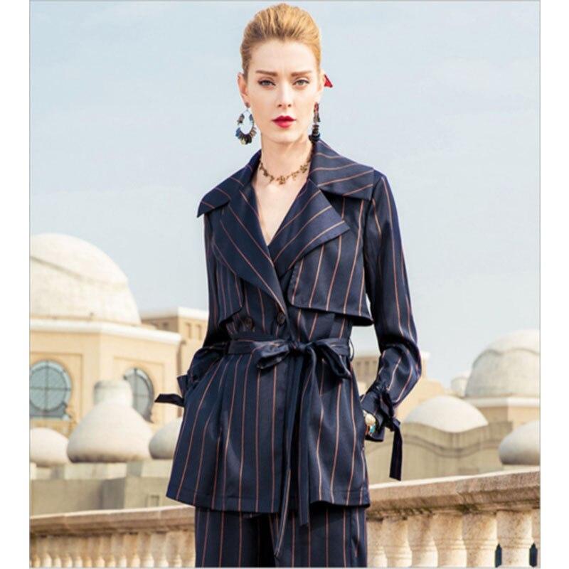 Streifen Frauen Anzuge Blazer Mit Hosen Buro Uniform Designs Frauen