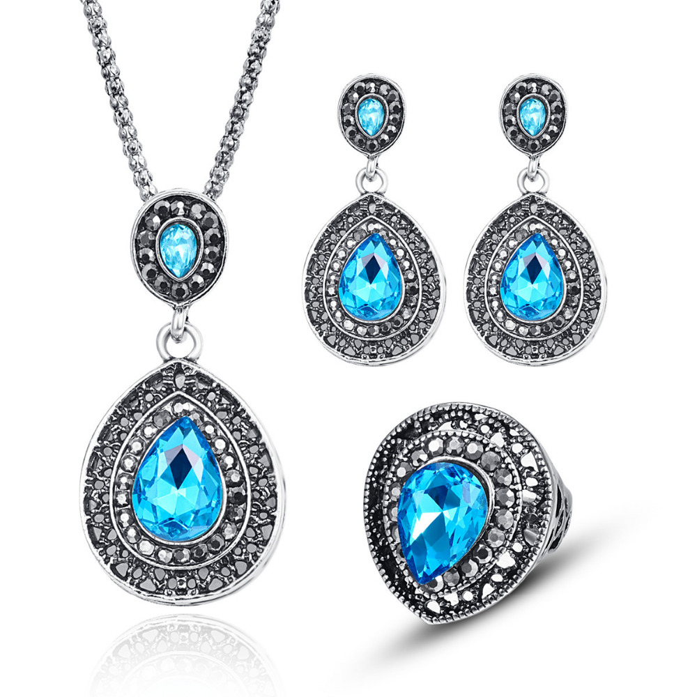 Jewelry-Sets Pendant Necklace Crystal Rhinestone Silver-Color Vintage Women for Antique