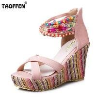 Taoffen/Размеры 33-43 Для женщин высокие сандалии на танкетке Обувь Для женщин Бисер сандалии с ремешками на лодыжках Радуга Цвет женские пляжные...