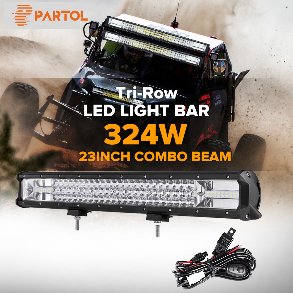 Partol 23 324W Tri-Row LED Light Bar Combo Spot Flood Beam Offroad Work Light 4WD 4x4 LED Bar 6000K for Truck Camper Trailer partol 240w 22 tri row led work light bar offroad led bar spot flood combo beam truck suv atv 4x4 4wd driving lamp 12v 24v