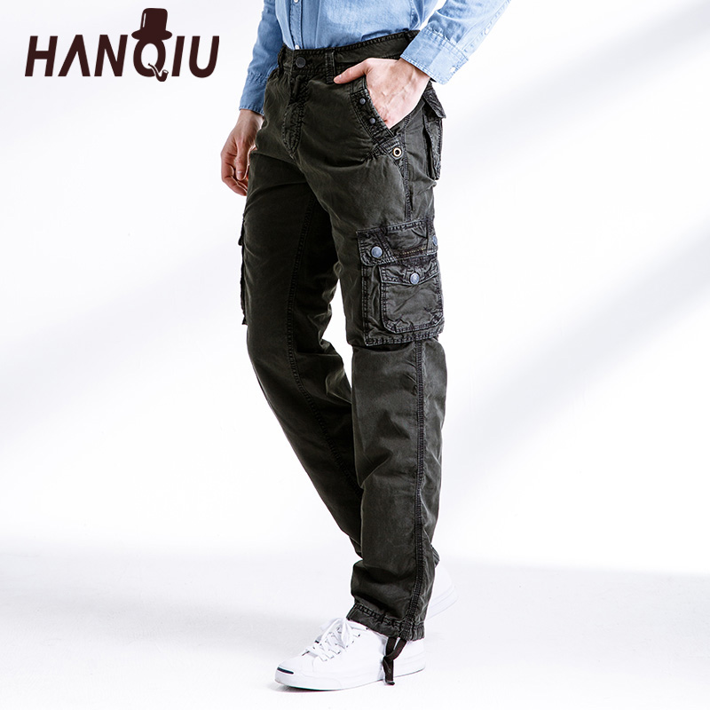 HANQIU Men Pants Trousers Military Loose Tactical Multi-Pocket Male Casual Solid Cotton