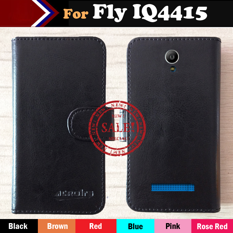 In Stock!Ultra-thin Phone Holster Flip Leather Case For Fly IQ4415 Quad ERA Style 3 Magnetic Button Minimalist Protective Cover