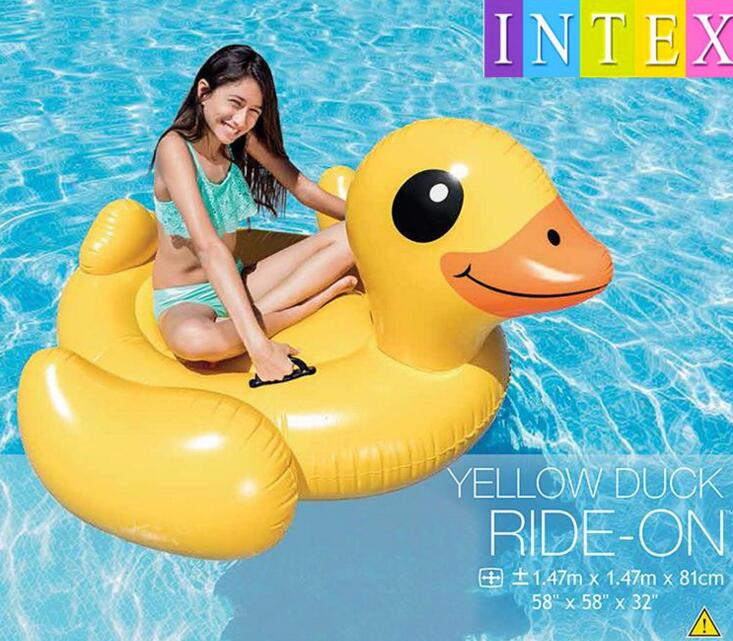 US $49.99  Water Play Equipment INTEX 57556 Yellow Duck Floating Adult  Swimming Pool Float Ride On Kid Rider Air Mattress Gift for friend-in Water  ...