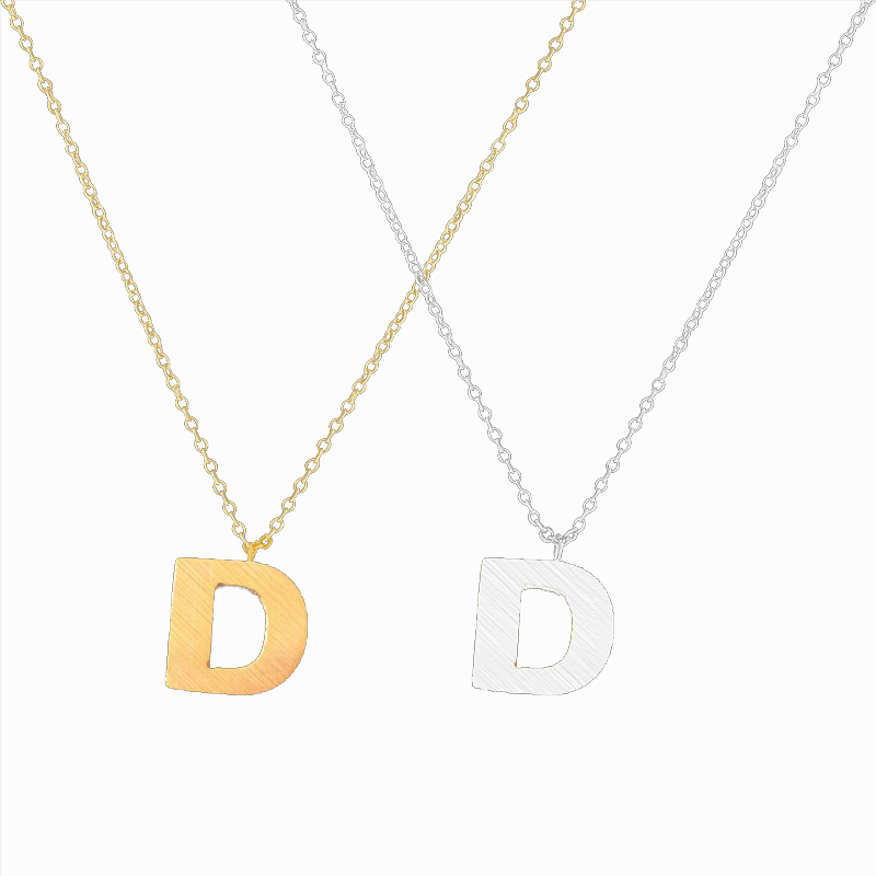 Name Jewelry Alphabet D Letter Pendant Charm Necklace Gold Silver Color Stainless Steel D Design Pendant Necklace For Women Gift