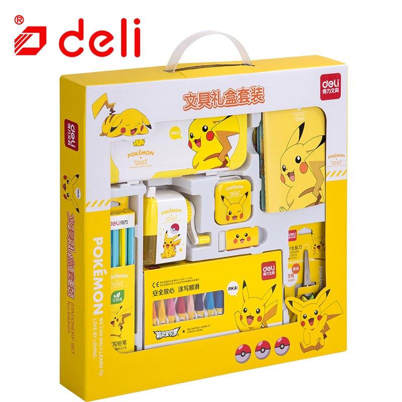 Ensemble de papeterie Deli Pokemon papeterie étudiant crayon/taille-crayon/cahier/crayon de couleur Kits d'apprentissage fournitures scolaires - 4