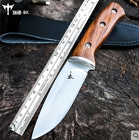 EDC Tactical Mengoing Outdoor Hunting Survival Knife 5Cr13Mov Steel Wood Handle Tactical Army Fixed Blade Knives