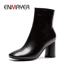 ENMAYER  Round Toe Basic Zip Genuine Leather Square Heel Zapatos De Mujer Shoes Woman Size34-41 ZYL1867