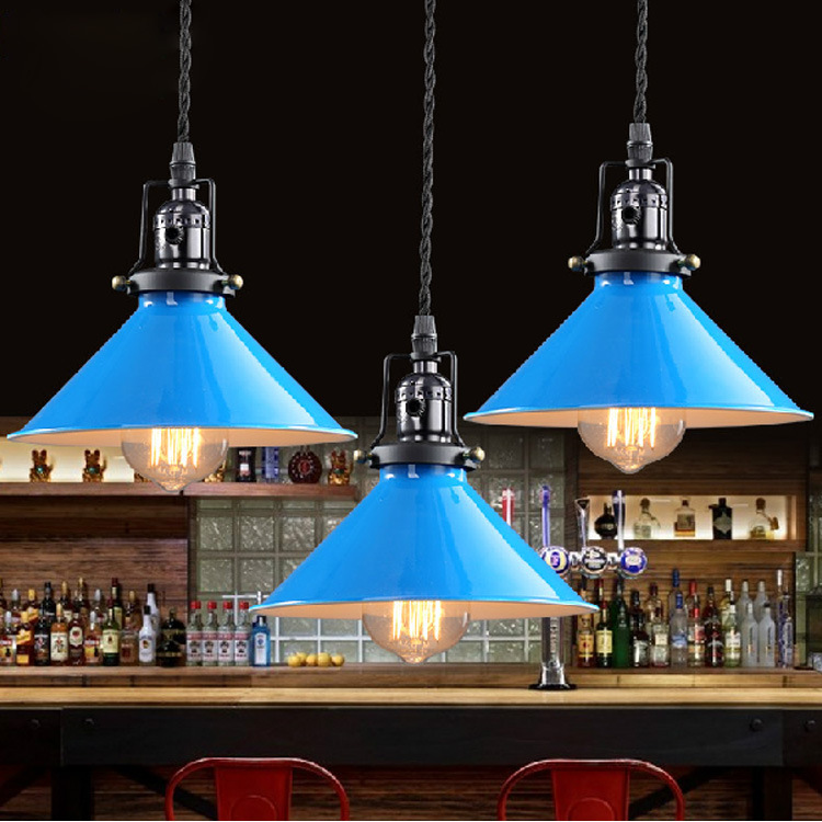 Edison Industrial Vintage Retro Blue Wrought Iron Pendant Lights Lamp for Cafe Bar Balcony Corridor Club Dining Room Restaurant 2 8y korea style cute bow belt sleeveless round collar assorted color performing dress layered dress girl evening dress