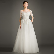 FOLOBE Elegant Boat Neck Beading A-line Wedding Dresses