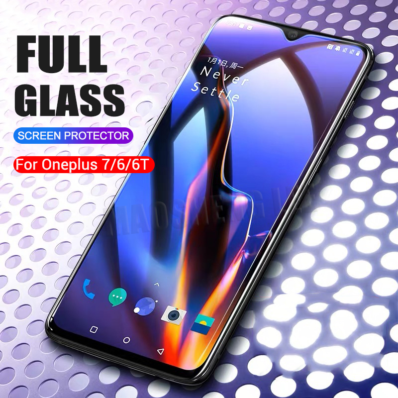 Image 1 - 2pcs/lot Full Tempered Glass For Oneplus 6 6T 7 Glass Screen Protector 2.5D tempered glass For one plus 7 6 6t Anti Blue glass-in Phone Screen Protectors from Cellphones & Telecommunications