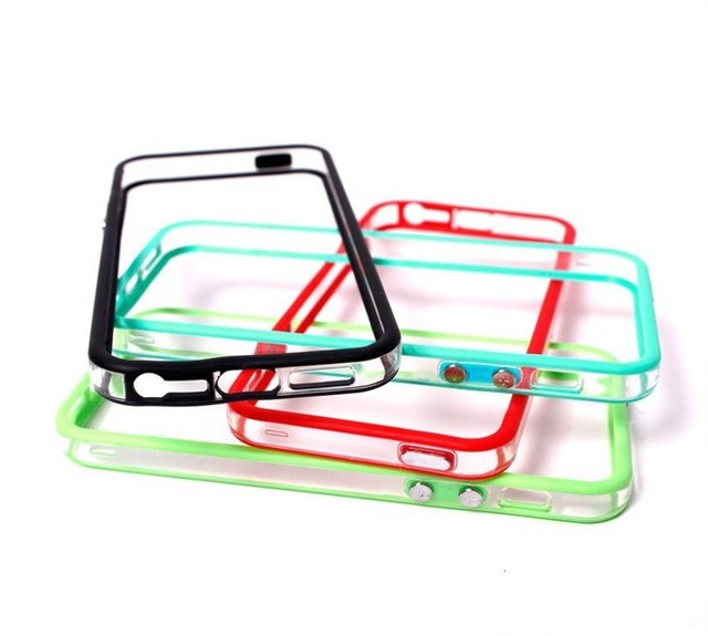 100pcs/lot two-color Soft TPU bumper With Metal Button for iphone 5 5G 5th