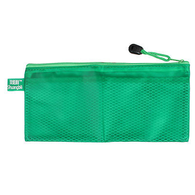 Green Zippered Document Mesh Receipt A6 Paper File Bag Holder 24cm Long W Strap
