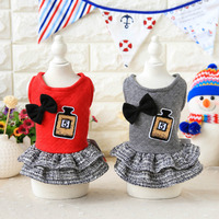 Bow Ties Perfume Bottle Princess Dog Dress Cotton Clothing For Dogs Maltese Yorkshire Chiwawa Winter Puppy
