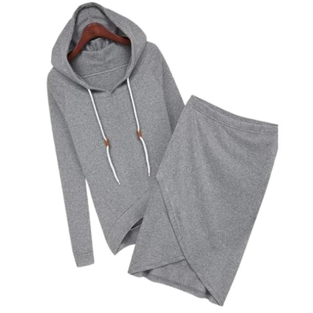 2pcs/set Autumn Winter 2018 Fashion Long Sleeve Elastic Suede Hooded Sweater Top+ Irregular Hem Skirt Set Female Sweater Set
