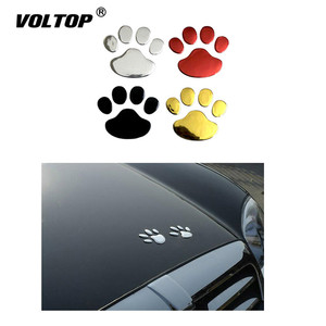 Image 1 - Car Sticker Cool Design Paw 3D Animal Dog Cat Bear Foot Prints Footprint 3M Decal Car Stickers Silver Gold Red Car Accessories
