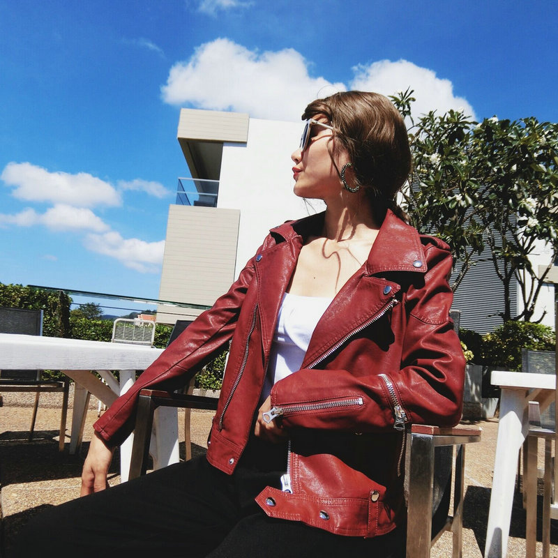2018 New Fashion Women Faux   Leather   PU Jackets and Coats Lady Zippers Motorcycle Cool Outerwear Cool Coffee Wine Red Streetwear