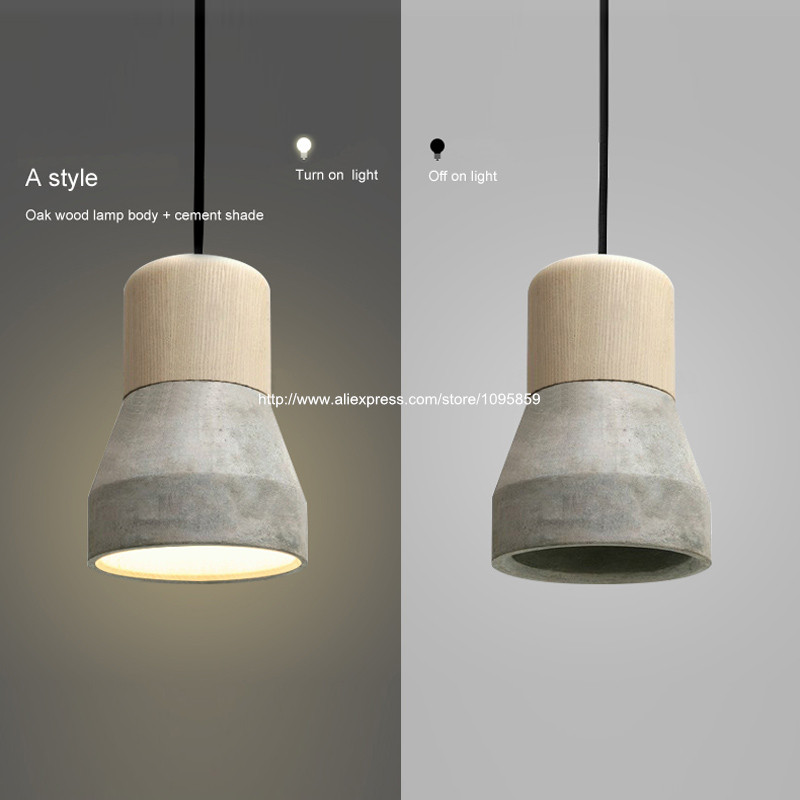 Wood Pendant Light Modern Light Fixture Industrial Lamp Cement Lampshade Dining Room Lights eiceo nordic ancient art cement resin creative pendant lamp minimalist retro cement lampshade for indoor cafe bars decor light