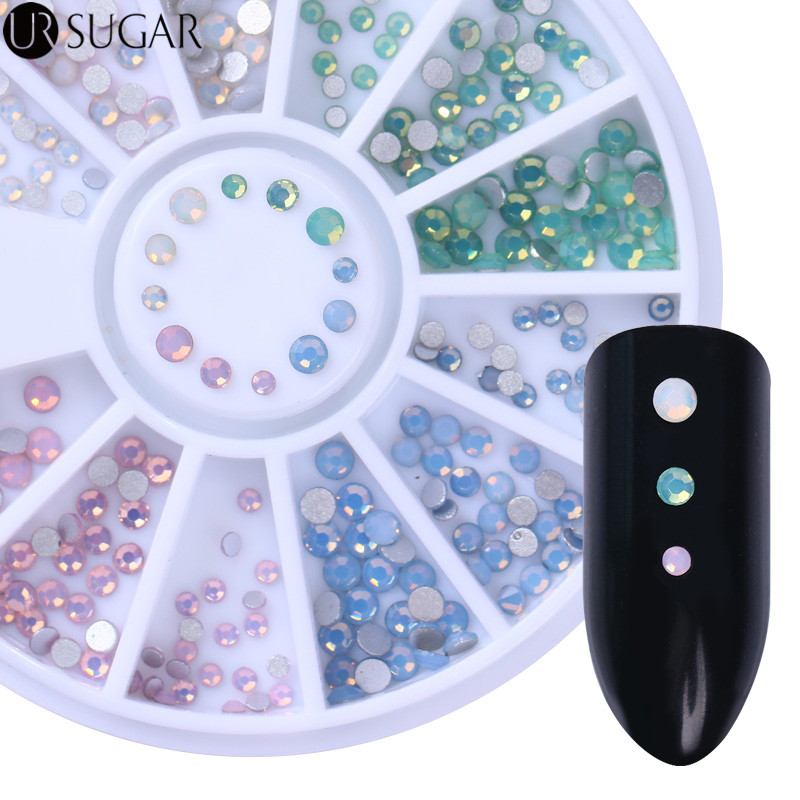 Opal Nail Rhinestones Flat Bottom 3D Nail Decorations Gold Silver AB Color 3D Decoration in Wheel DIY Nail Art UV Gel Polish golden black nail art crown hollow flakes 3d decoration sticker wheel alloy uv gel polish tips diy charm jewelry accessories