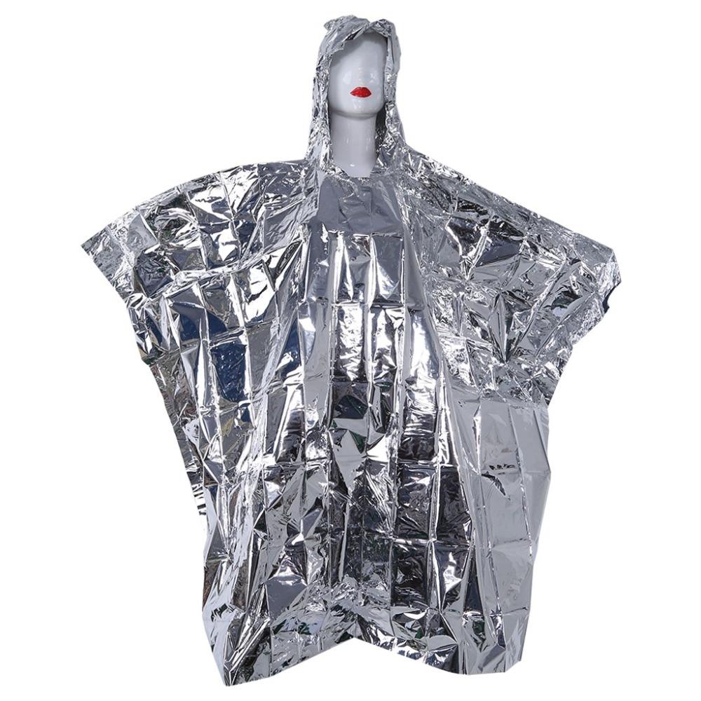 Outdoor Survival Waterproof Rescue Blanket Space Emergency Foil Raincoat Poncho