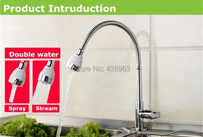 Free shipping Lowest price good quality single cold water kitchen faucets brass chrome single handle diy