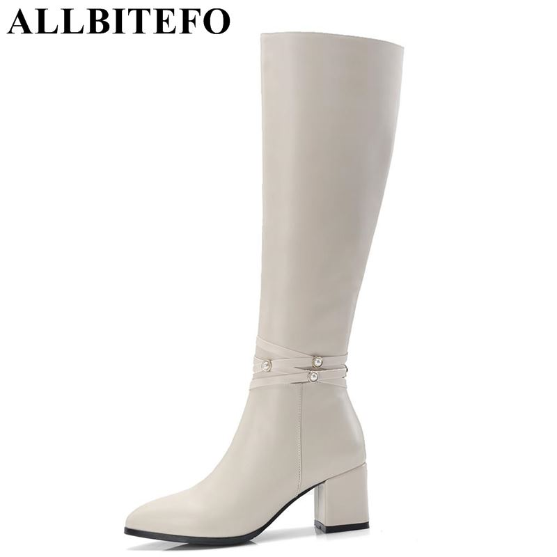 ALLBITEFO natural genuine leather +PU women boots girls knee high boots winter fashion sexy high heel thigh high boots woman насос dab nova 200 m na