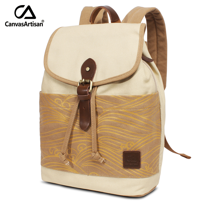 Canvasartisan Top Quality Women's Canvas Backpack Leisure Retro Style Printed Bag Daily Travel School Laptop Backpacks chic canvas leather british europe student shopping retro school book college laptop everyday travel daily middle size backpack