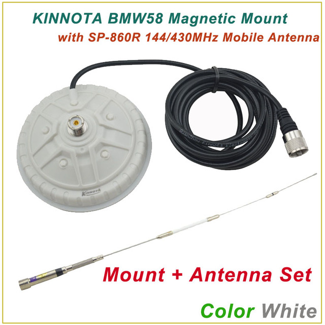 Nueva llegada KINNUOTA BMW58 Color blanco montaje magnético con KINNUOTA SP-860R 144 / 430 MHz antena Dual / Mount antena Set