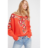 Boho Retro Daisy Floral Embroidery Knitwear Tops Loose Long Sleeve Solid Knitted Pullovers Stweater Winter Women's Sweaters Top