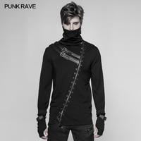 PUNK RAVE Men's T shirt Punk Rock Assassin Black Fashion Street T shirt Casual Gothic Long Sleeve Zipper Turtleneck Pullovers